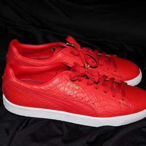 Puma Clyde Dressed Lace Up Red Leather Mens Traine